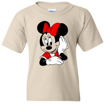 TurnTo Designs - Disneyland MINNIE MOUSE Color (Hand on Face) Vinyl Tan T-Shirt