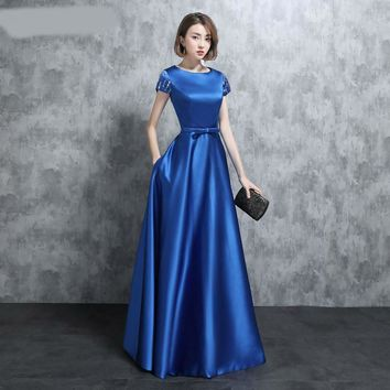 Real Photo Vintage Royal Blue Evening Dresses Short Sleees With Cap Bow Sashes Side Pockets Satin Floor Length Long Evening Gown