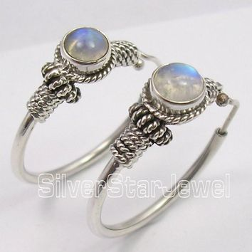 Sterling Silver India Earrings with Moonstone