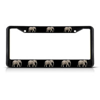 REAL ELEPHANT Black &Chrome  Metal Heavy Duty License Plate Frame Tag Border