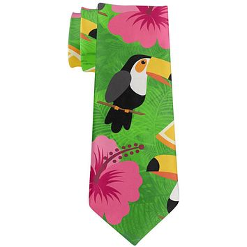 Tropical Vacation Tucan Pattern All Over Neck Tie