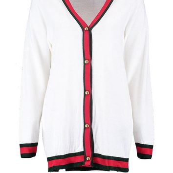 V Neck Tipped Button Up Cardigan | Boohoo