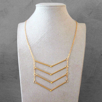 Gold chevron necklace - modern geometric necklace - gold necklace