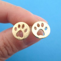 Round Paw Print Cut Out Shaped Stud Earrings in Gold