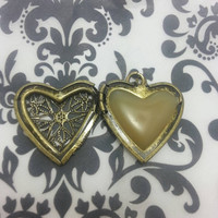 Solid Perfume Locket, custom scent, Lovely Filigree Heart Necklace