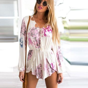 CREYIH3 HOT FLORAL CUTE LONG SLEEVE BIND ROMPER PLAYSUIT
