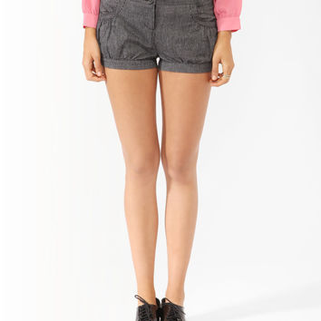 Striped Button Cuffed Shorts