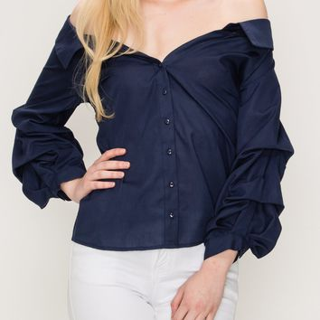 Off the Shoulder Button Down Top with Puff Sleeves