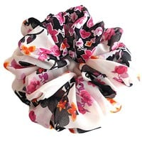 White Crimson Scrunchies for Hair Large Chiffon Tropical Accessories Headband Ponytail Holder Teen Girls Women
