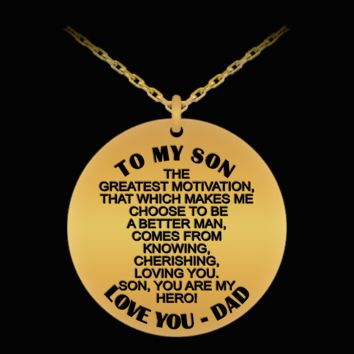 To my son, my hero - Love dad engraved pendant necklace