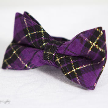 The Columbia Tiger.. Purple Plaid Cotton Bow Tie