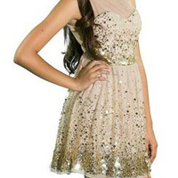 Shimmer Gold Dream Party Dress