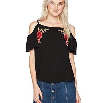 A Byer Juniors Cold Shoulder Embroidered Patch Top Black M