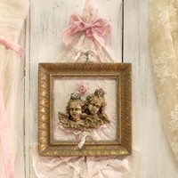 Vintage crowned Cherubs framed embroidery shabby chic framed cherubs angels wall decor