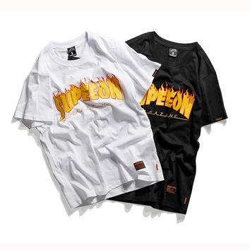 YouthCodes Skateboards Magazine Flame Fire T Shirt Men Hip Hop Fashion Letters Couples T-Shirts Streetwear Kanye West Vintage