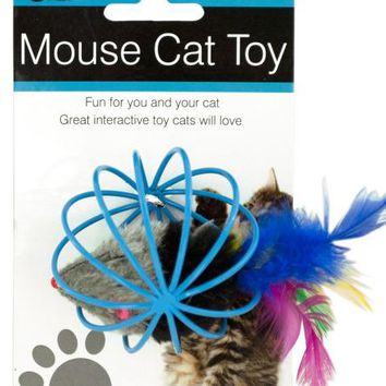 Feathered Mouse in Ball Cage Cat Toy ( Case of 12 )