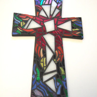 "Mosaic Wall Cross, LARGE 15"" x 9.25"", Rainbow, Multicolored Handmade Stained Glass Mosaic Design"