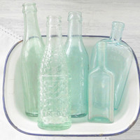 Vintage Handblown Sea Glass Blue Bottles, Set of 5, Beach Cottage, Cottage Chic, Aqua, Antique, Soda Bottles, Diffuser Bottles