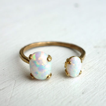 Brass Opal Open Ring