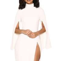 Clothing : Structured Dresses : 'Kristiana' White Crepe Dress with Cape Sleeves