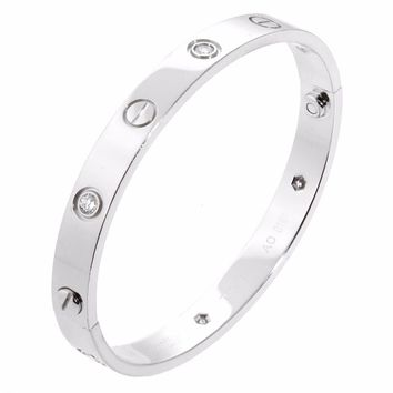 Cartier Love White Gold Diamond Bangle Bracelet (0000065)