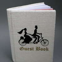 White burlap Linen Wedding guest book Black Silhouettes Vintage groom and bride on bicycle