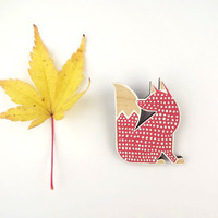 Eco friendly Brooch Fox White Red - Doodle Fox