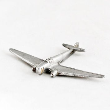 1950s Vintage Art Deco Airplane Aircraft Metal Miniature Plane