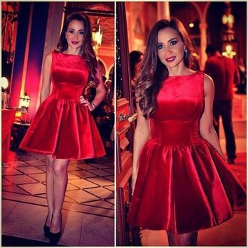 Romantic 2016 New Hot Summer Sexy Mini Short Elegant Red Velour Women Special occasion Party Cocktail Dresses robe de cocktail