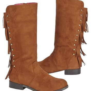 FAUX SUEDE FRINGE RIDER BOOTS | GIRLS SHOES {PARENT_CATEGORY} | SHOP JUSTICE