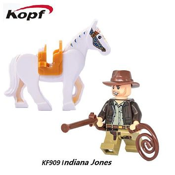 Super Heroes Avengers Indiana Jones Rides on a Horse action Building Blocks assemble best gifts Toys For Children KF909