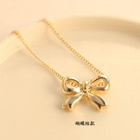 N124-4 Bow Pendant Necklace Fashion Jewelry Chain Necklace  Women Everyday Wear Accessories