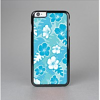 The Blue & White Hawaiian Floral Pattern V4 Skin-Sert for the Apple iPhone 6 Plus Skin-Sert Case