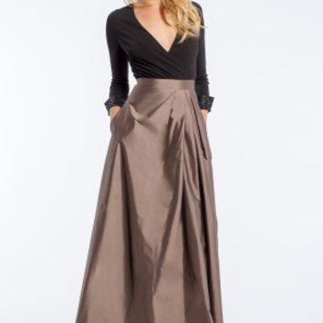 Jersey and Taffeta Wrap Dress with Long Sleeve