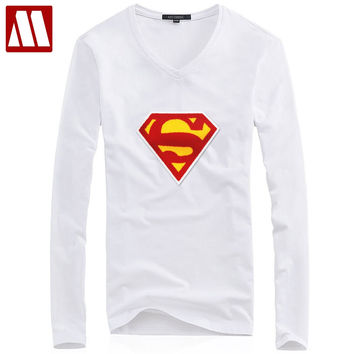 Superman T Shirts Men Long Sleeve Autumn and Men TShirt superhuman Patch T-shirt Super Man in Tees and Tops Couples