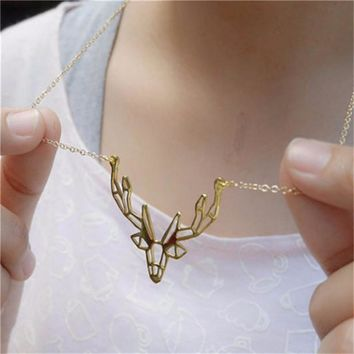 Origami Antler Necklace Gold Deer Animal Chain Pendant Necklace For Women Jewelry Gifts Love