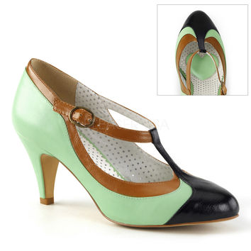 Pinup Couture Peach T-Strap Pump Mint