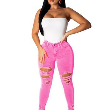 Neon Candy Color Denim Pencil High Waist Skinny Ripped Jeans