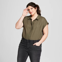 Women's Plus Size Popover Short Sleeve Shirt - A New Day™