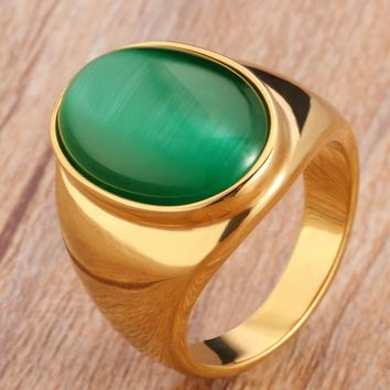 FIVETWOO JEWELRY Fashion High Quality Vintage 316L Stainless Steel Big Oval Men Ring With Opal In Gold-Color FWR55
