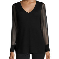Cashmere Sheer-Sleeve V-Neck Top, Size: LARGE, BLACK - Neiman Marcus Cashmere Collection