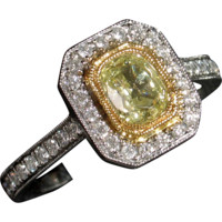 Certified Natural Fancy Green-Yellow Diamond Engagement Ring
