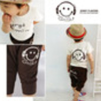 Free shipping!! Retail one set baby boys smile face clothing sets summer sports cotton sets Navy/Coffee colors - Default