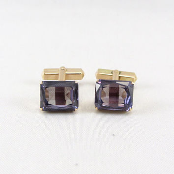 Vintage 14K Gold Color Change Sapphire Cufflinks Art Deco Era Formal Wedding Cuff Links Mens Accessory Yellow Gold Fine Jewelry