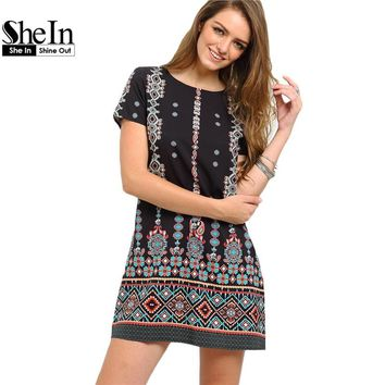 SheIn Summer Style Boho Dress Black Aztec Print Shift Short Dresses Women Short Sleeve Round Neck Above Knee Vintage Dress