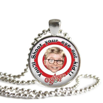 A Christmas Story Necklace Silver Plated You'll Shoot Your Eye Out Kid! Picture Pendant