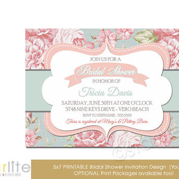 Bridal Shower Invitation - English Botanical Floral - Vintage Style - Distressed Pink Blue, Vintage Chic - unique invitation - You Print