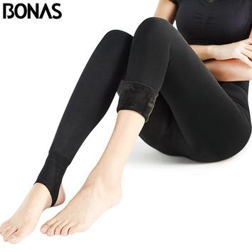 BONAS Women Warm Leggings Fitness Soft Comfortable Leggins Mujer Push Up Leggings Pluse Size Warm Winter Leggings 7191008Y