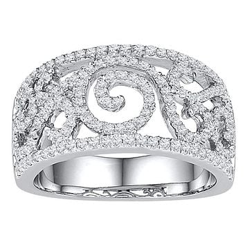 10kt White Gold Women's Round Diamond Swirl Filigree Band Ring 5/8 Cttw - FREE Shipping (US/CAN)