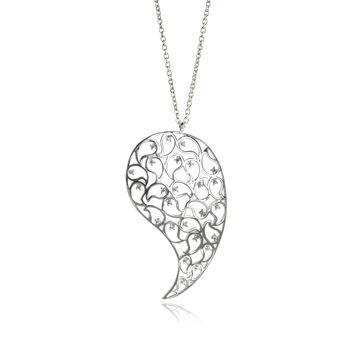 Jaali Silver Paisley Necklace Clear CZ